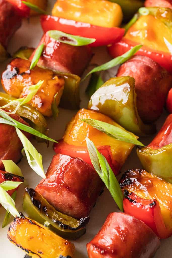 cooked sausage kabobs