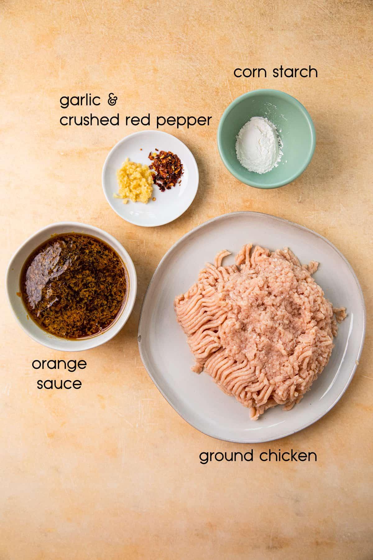 ground chicken, spices, orange sauce, cornstarch