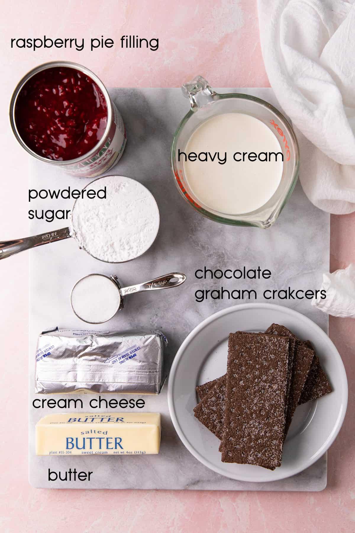 Recipe ingredients on a cutting board.