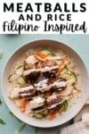 Meatballs and rice Filipino inspired.