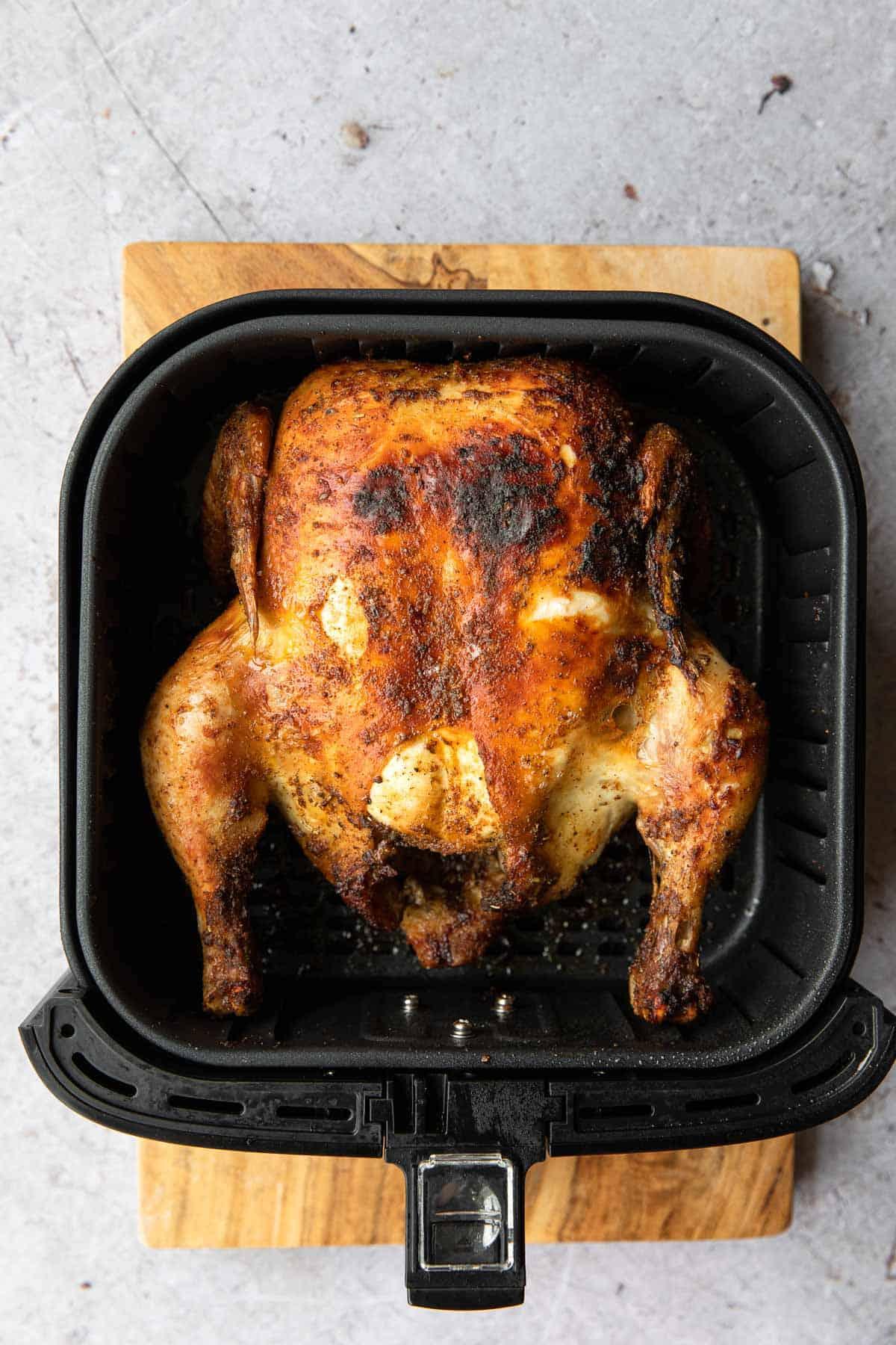 golden brown chicken in the basket