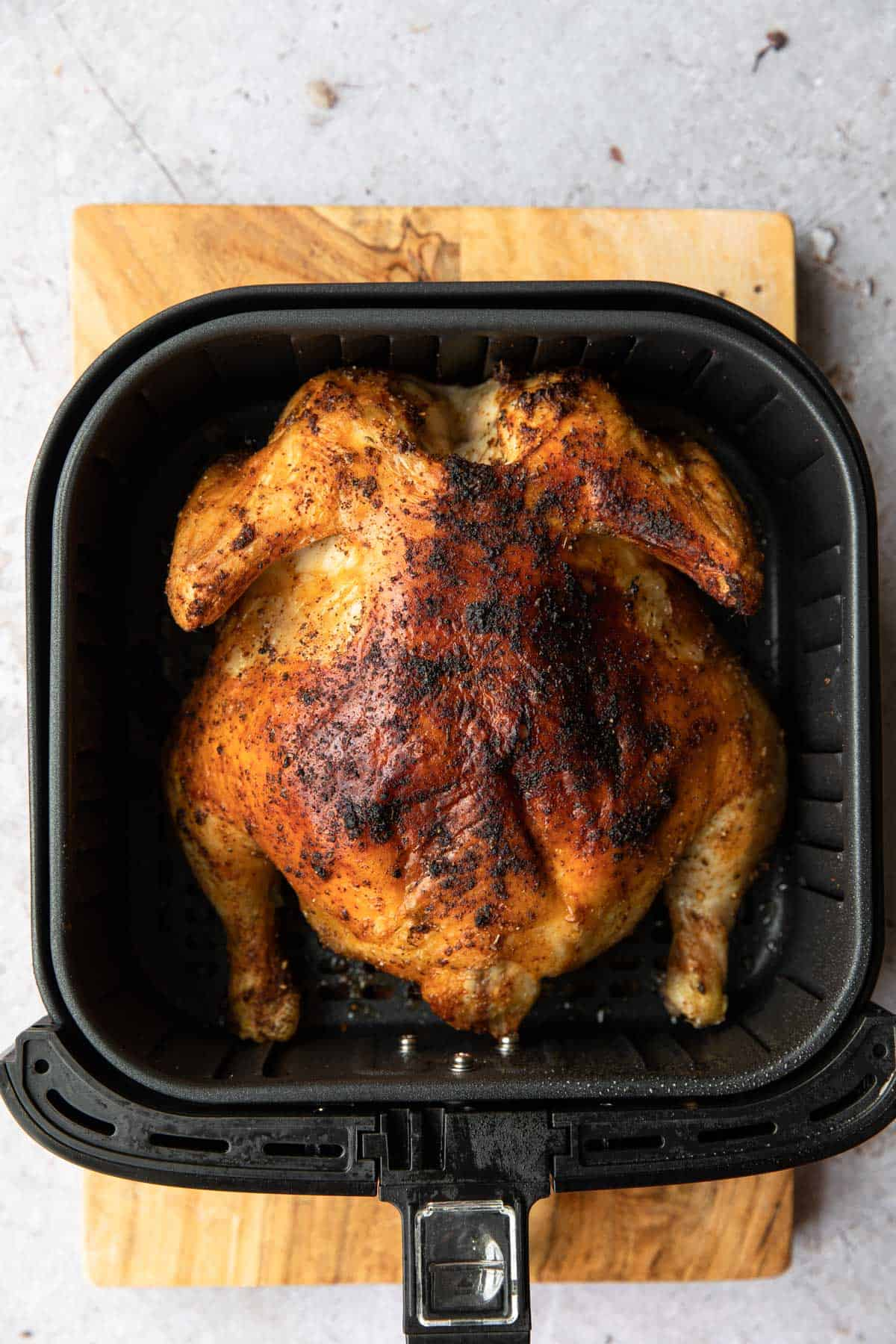 browned chicken in an air fryer