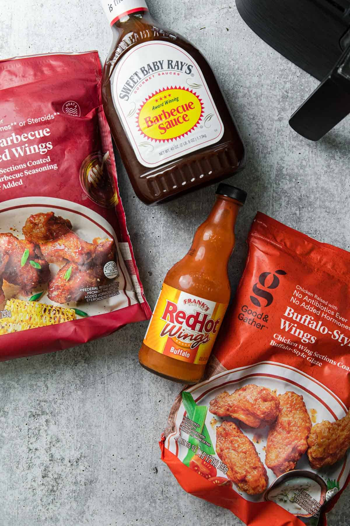 precooked store bough chicken wings with bbq and buffalo sauce